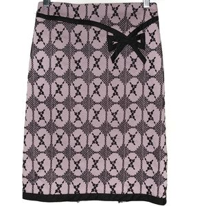 Nanette Lepore Pencil Embroidered Bow Purple Black Lined Skirt 8